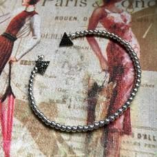 Triangle black zircon silver bracelet