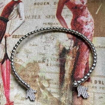 Hamsa hand white zircone silver bracelet