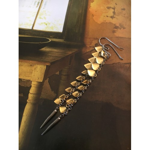"""The Hearts in gold"" silver earrings"