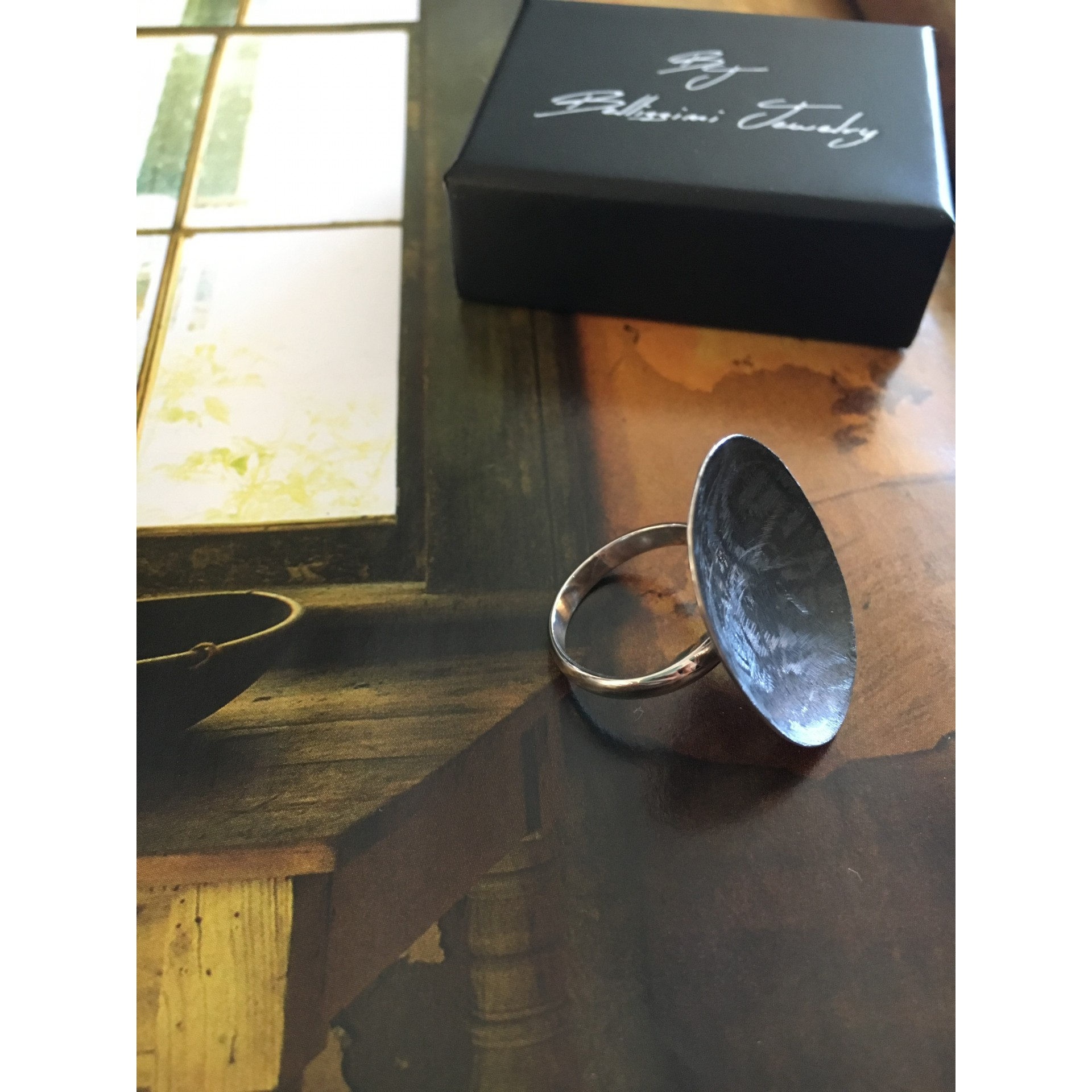 """The Black saten"" silver ring"