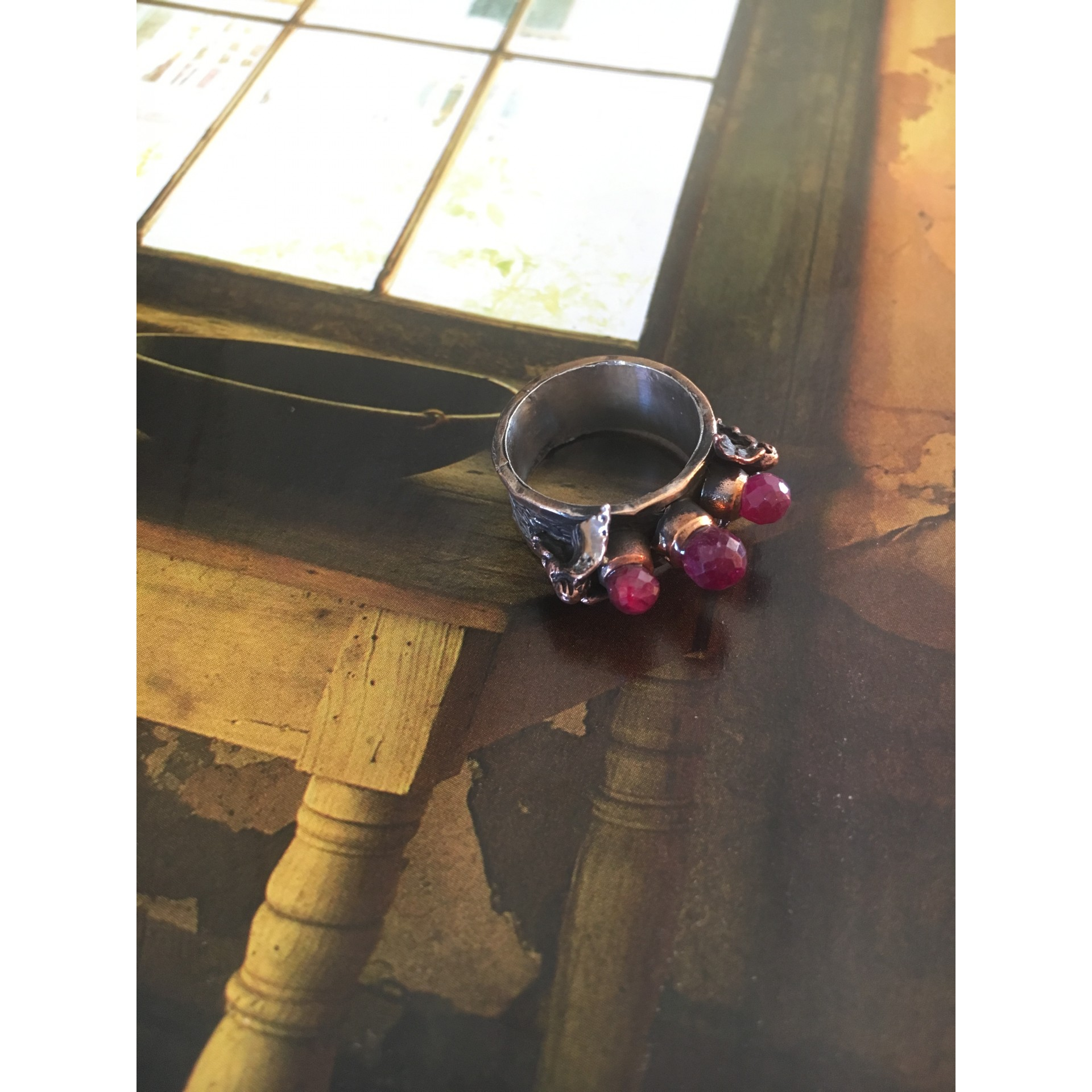 """""""The Rubies"""" silver ring"""