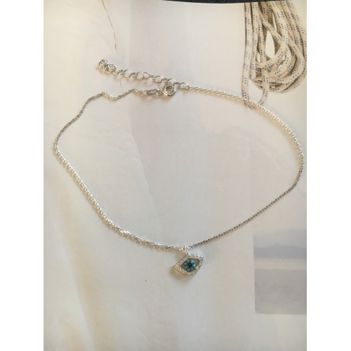 """""""The Lucky Eye"""" silver anklet"""