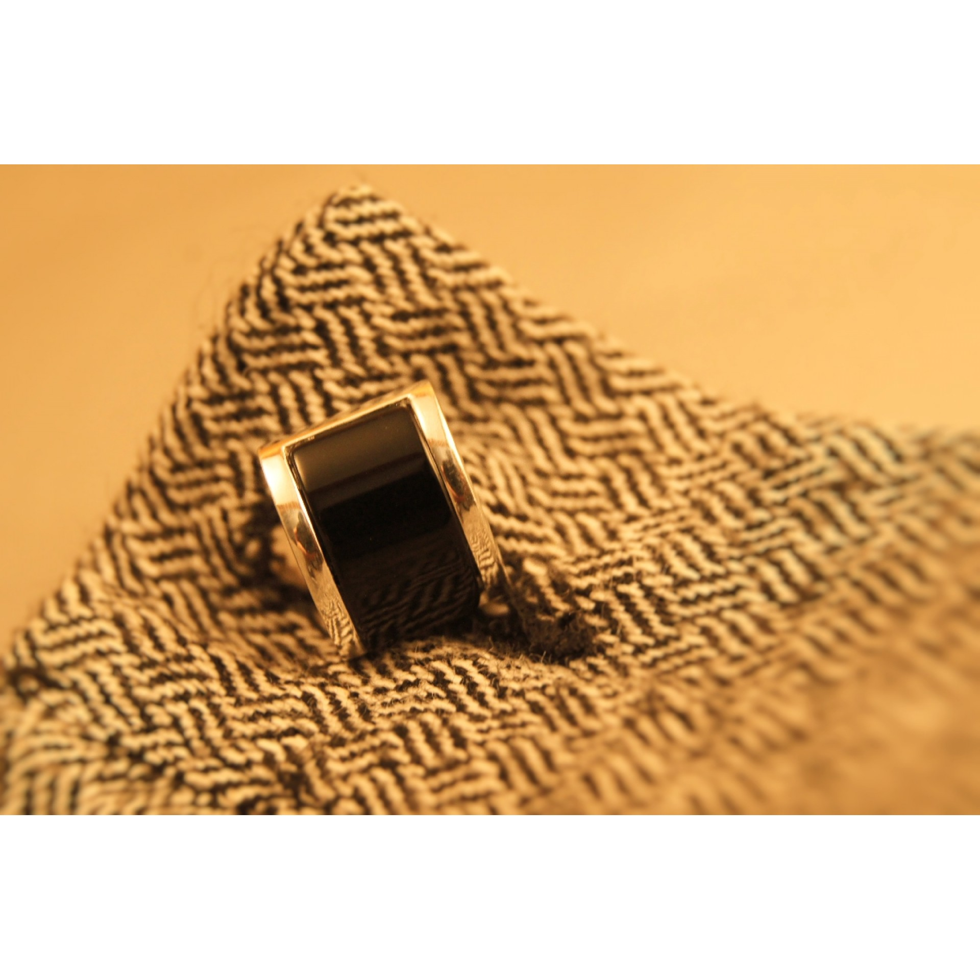 The Black Onyx silver cuff links for men