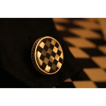 The Chess and Mother of Pearl silver cuff links for men