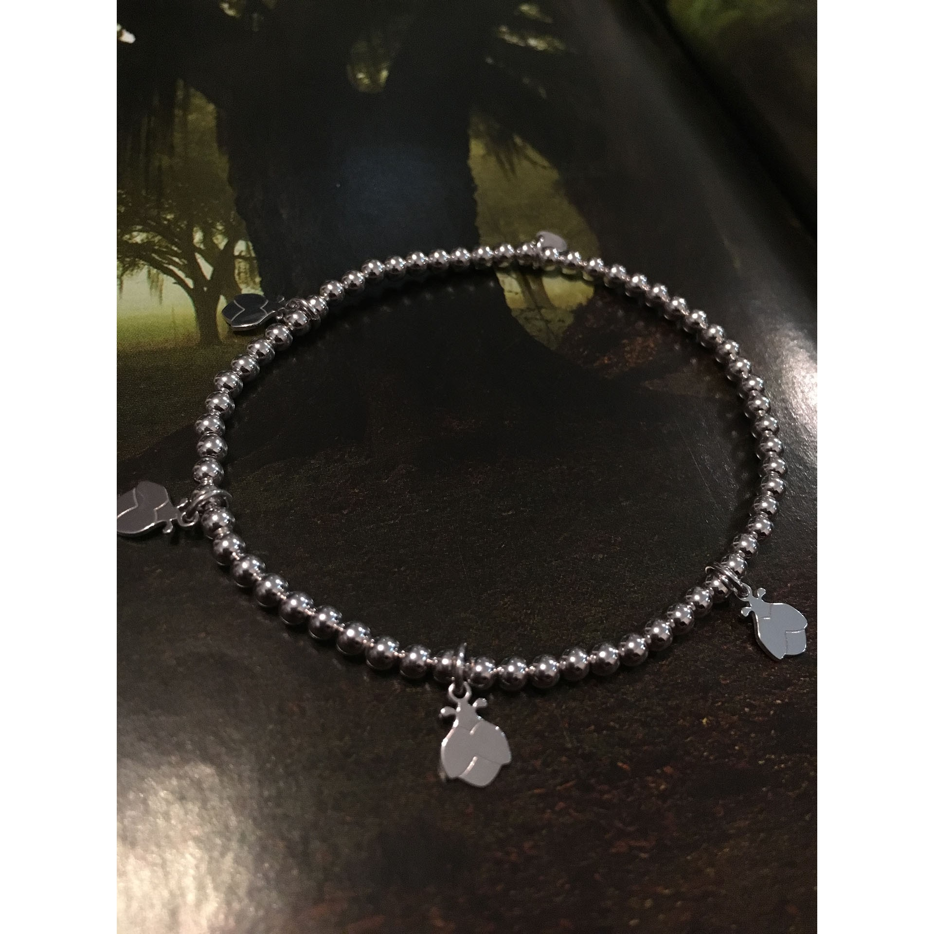 The Ladybugs in White silver bracelet
