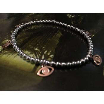 The Lucky Eye in Rose Gold silver bracelet