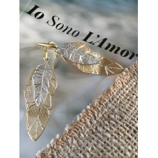 The Leaves in Gold and Silver silver earrings