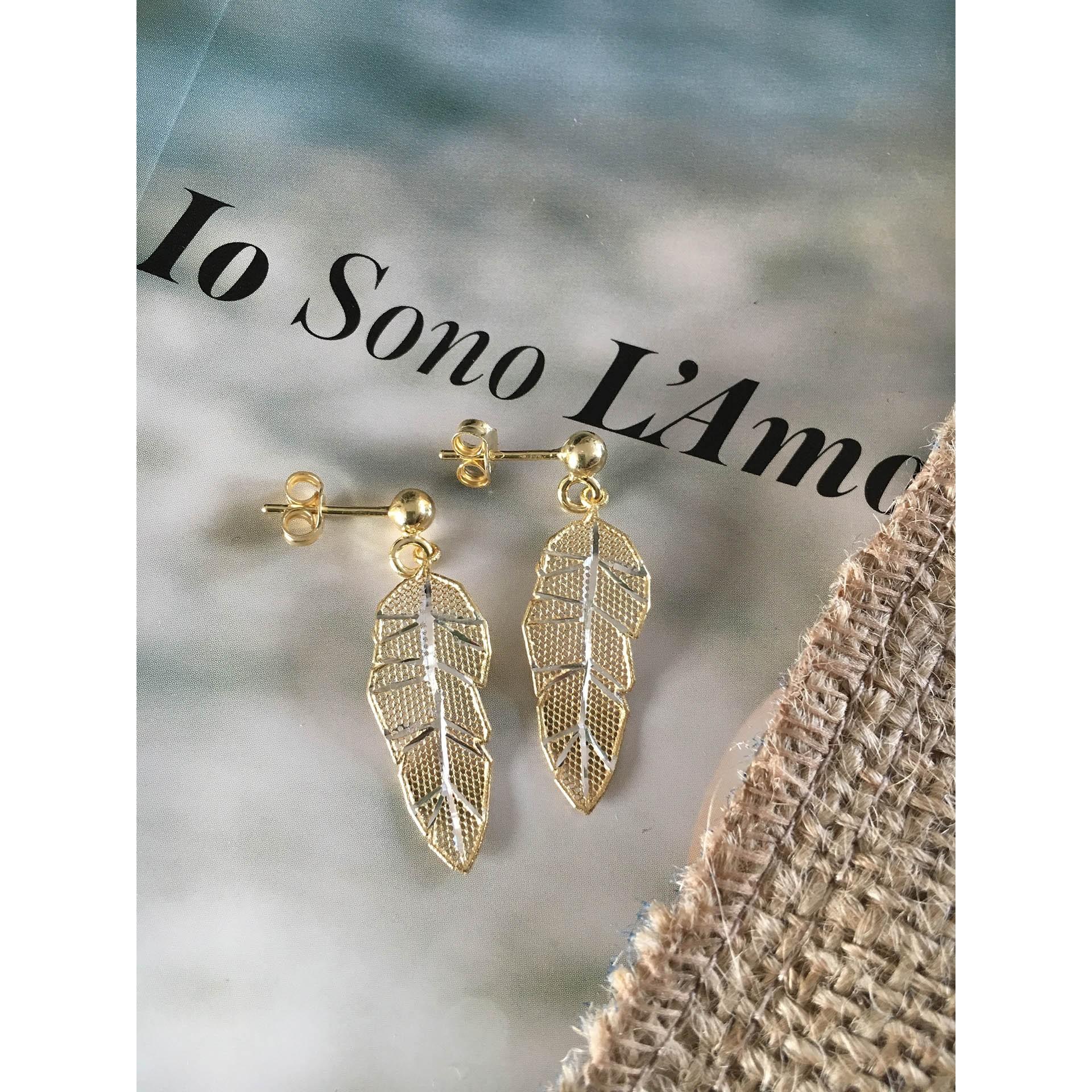 The Leaves in Gold mini silver earrings