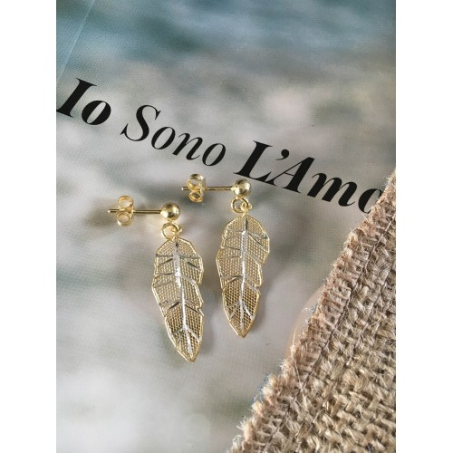 The Leaves in Gold mini silver earrings