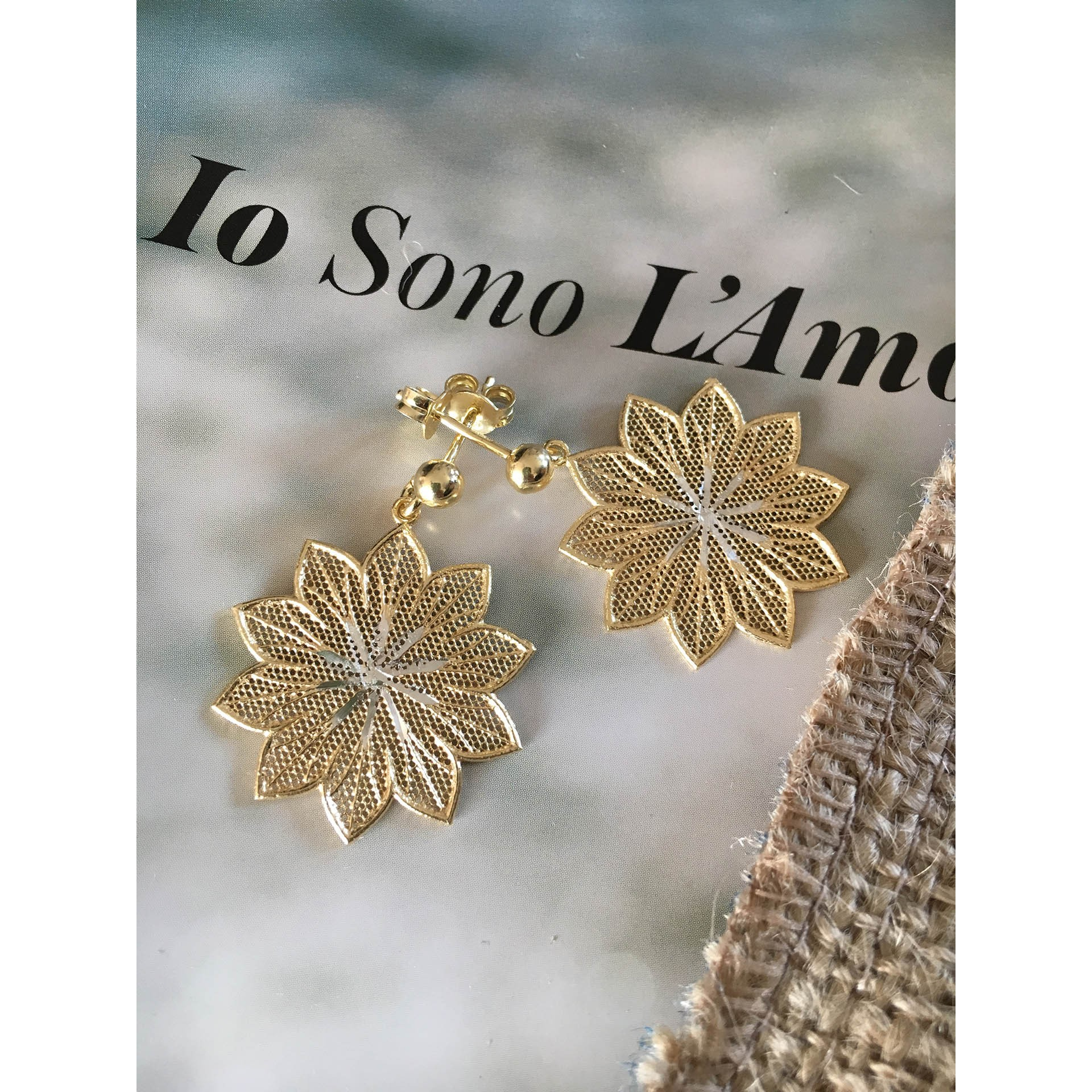 The Lily in Gold silver earrings