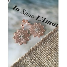 The Lily in Rose Gold silver earrings
