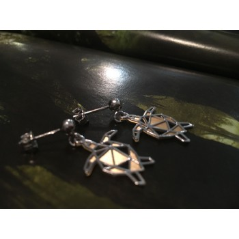 The Turtle Origami silver earrings