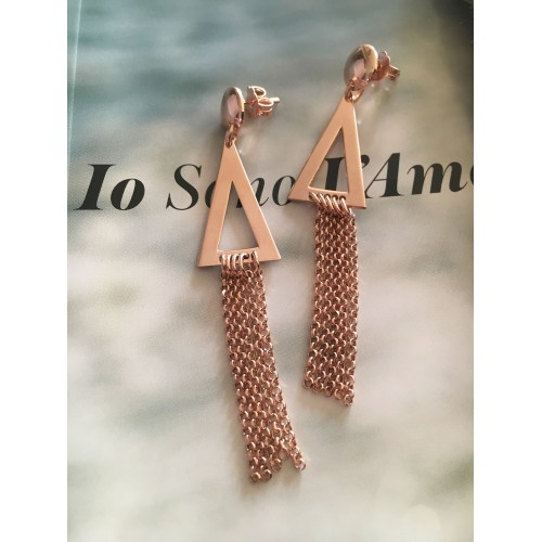 The Triangles and Chains in Rose Gold silver earrings