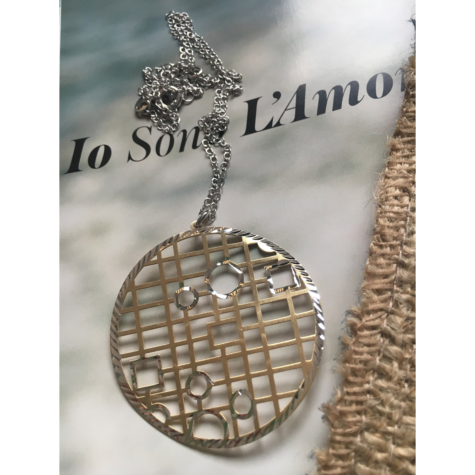The Lattice in Gold silver necklace