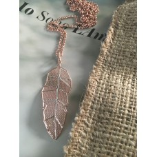 The Leaf in Rose Gold silver necklace