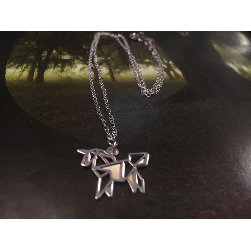 The Unicorn Origami in Gold silver necklace