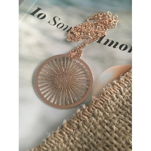 The Wheel in Rose Gold silver necklace