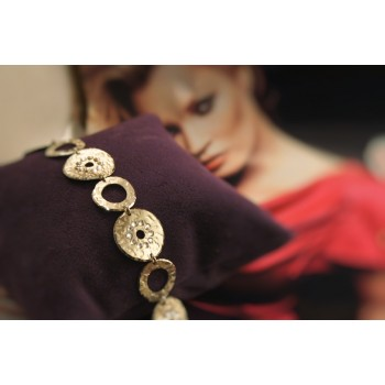 The Coins in Gold and Crystals silver bracelet