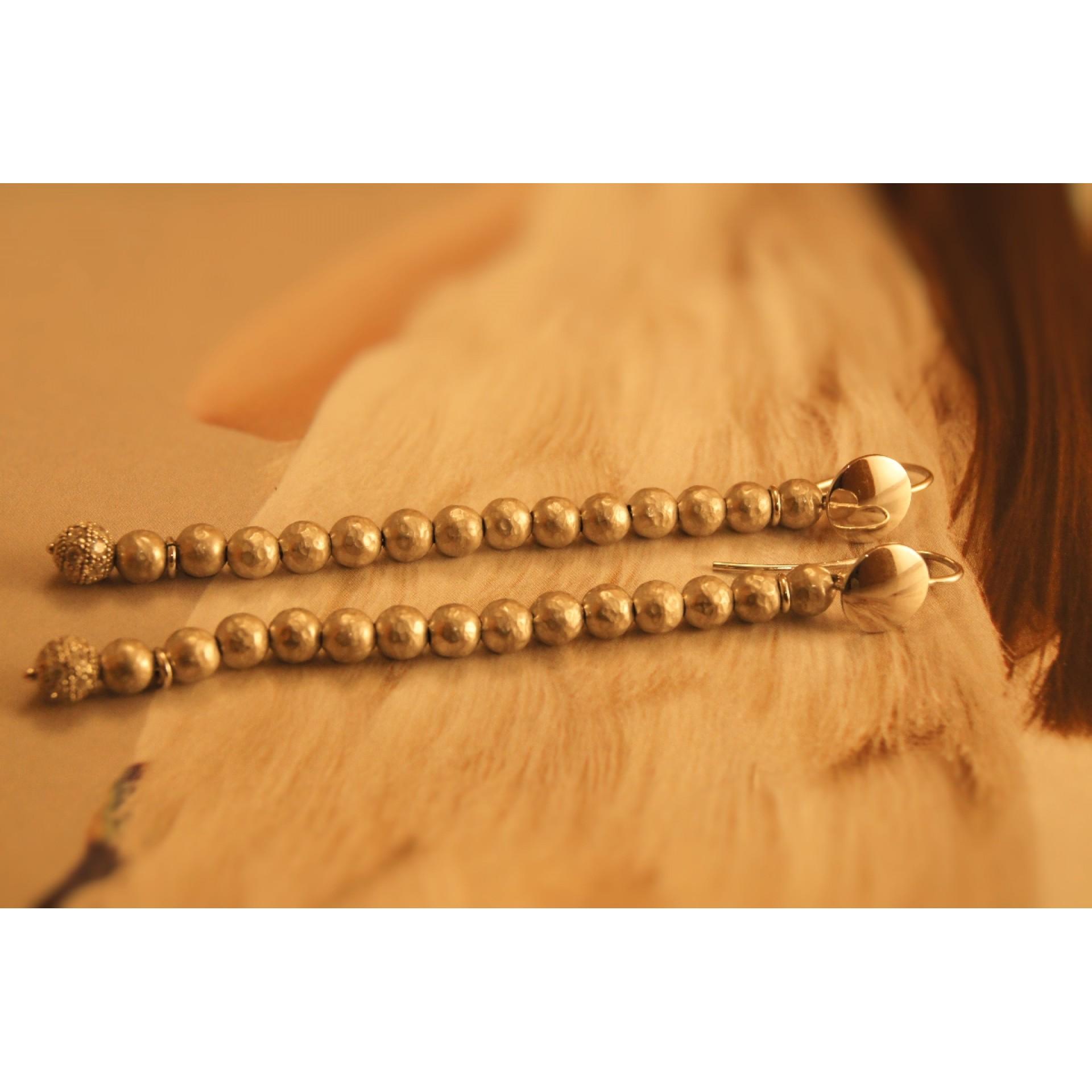 The Balls in Satin silver earrings