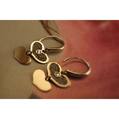 The Golden Hearts silver earrings