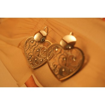The Hearts in Gold and Crystals silver earrings