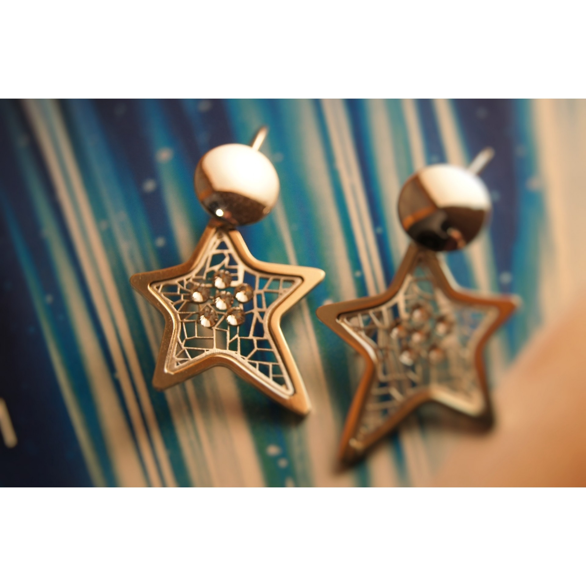 The Star-Addiction in Gold silver earrings