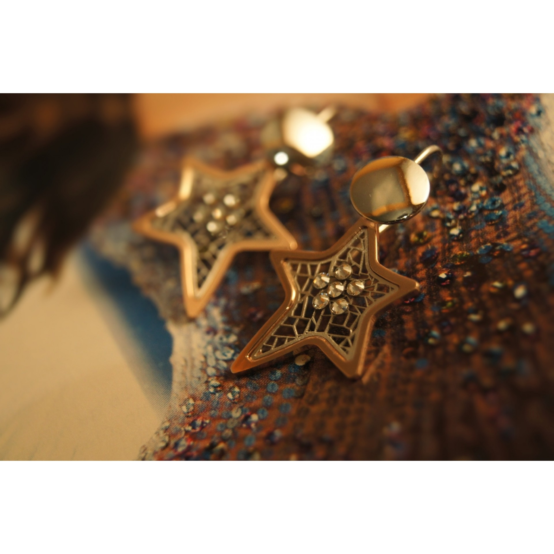 The Star-Addiction in Rose Gold silver earrings