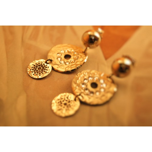 The Coins in Gold and Crystals silver earrings