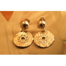 The Coins in Crystals silver earrings
