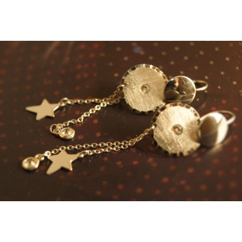 The Coins in Satin, Stars and Crystals silver earrings
