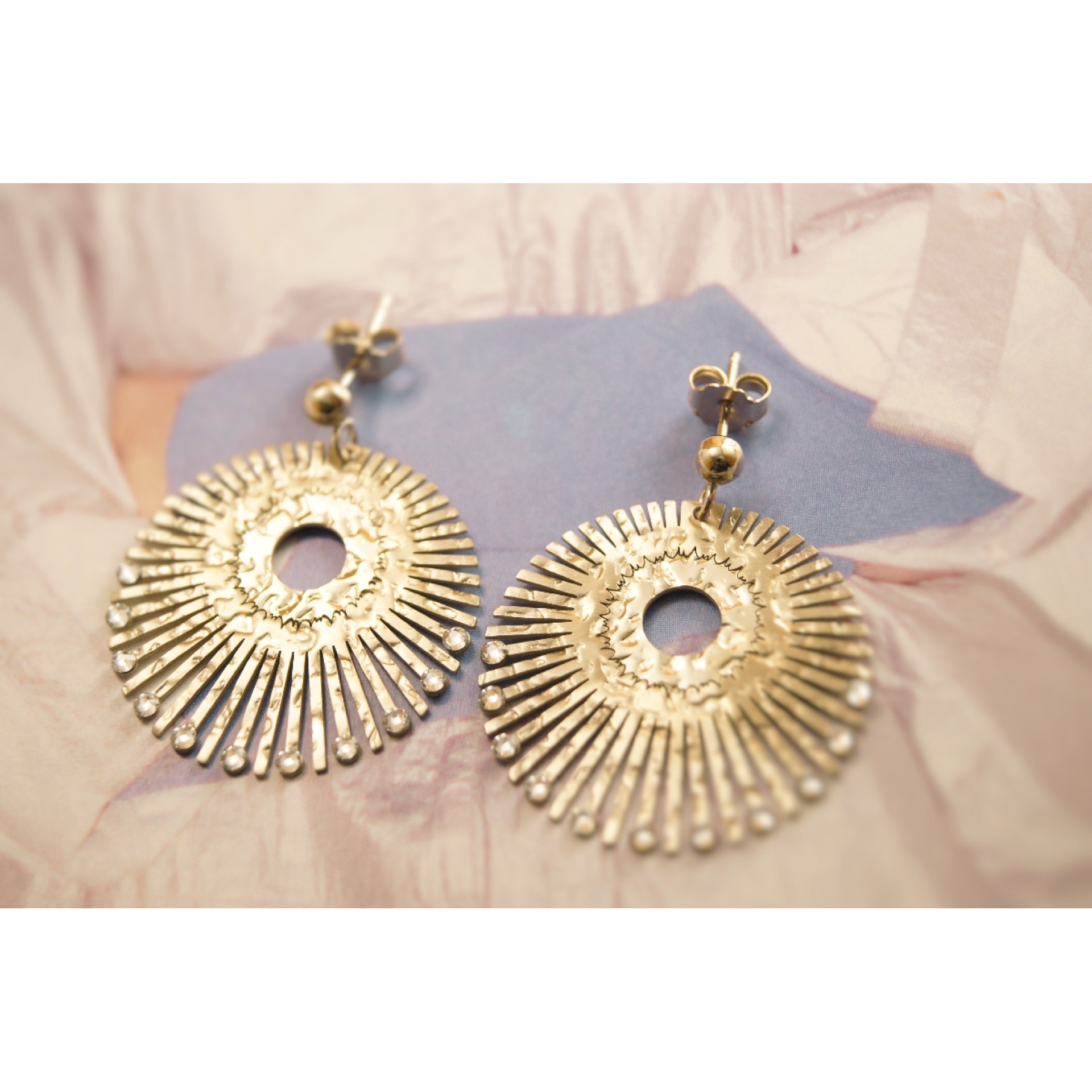 overstock italian watches shipping today earrings gold free stud adaf product jewelry yellow feather fremada