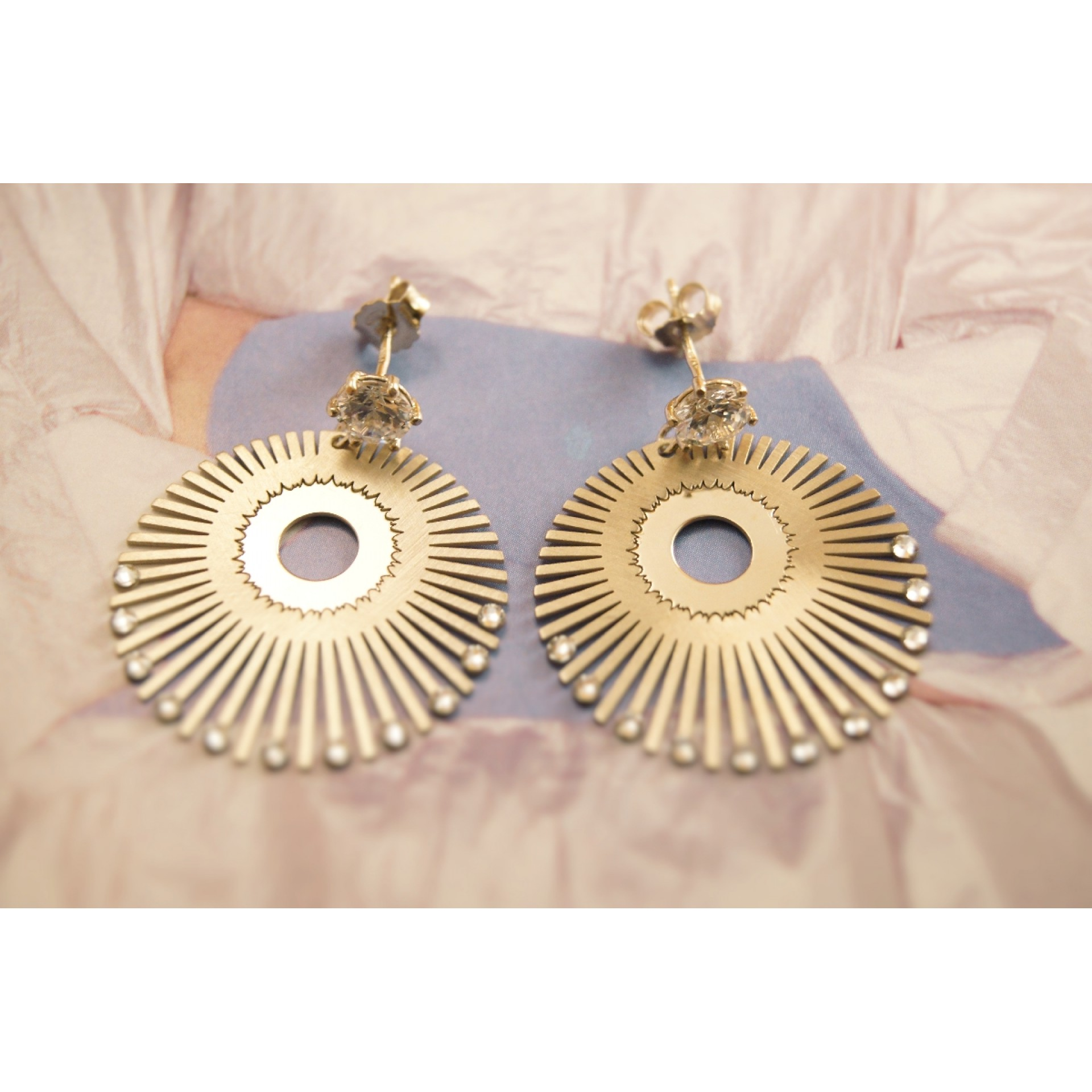 The Radiance in Golden Satin and Crystals silver earrings
