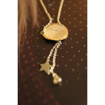 The Coin in Satin, Star and Crystals silver necklace