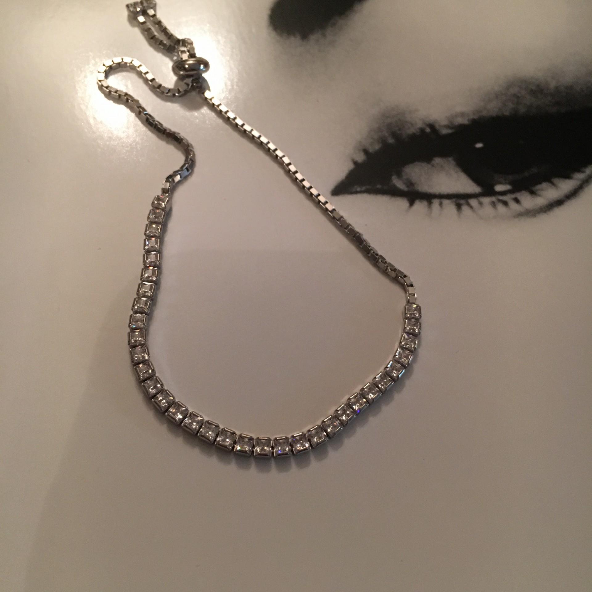 Silver & White Zircon I silver bracelet