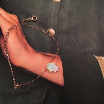 Silver & Opal Hamsa Hand silver bracelet