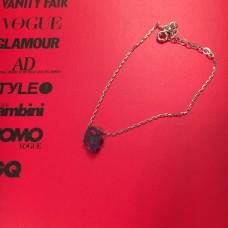 Silver & Red Opal Hamsa Hand silver bracelet