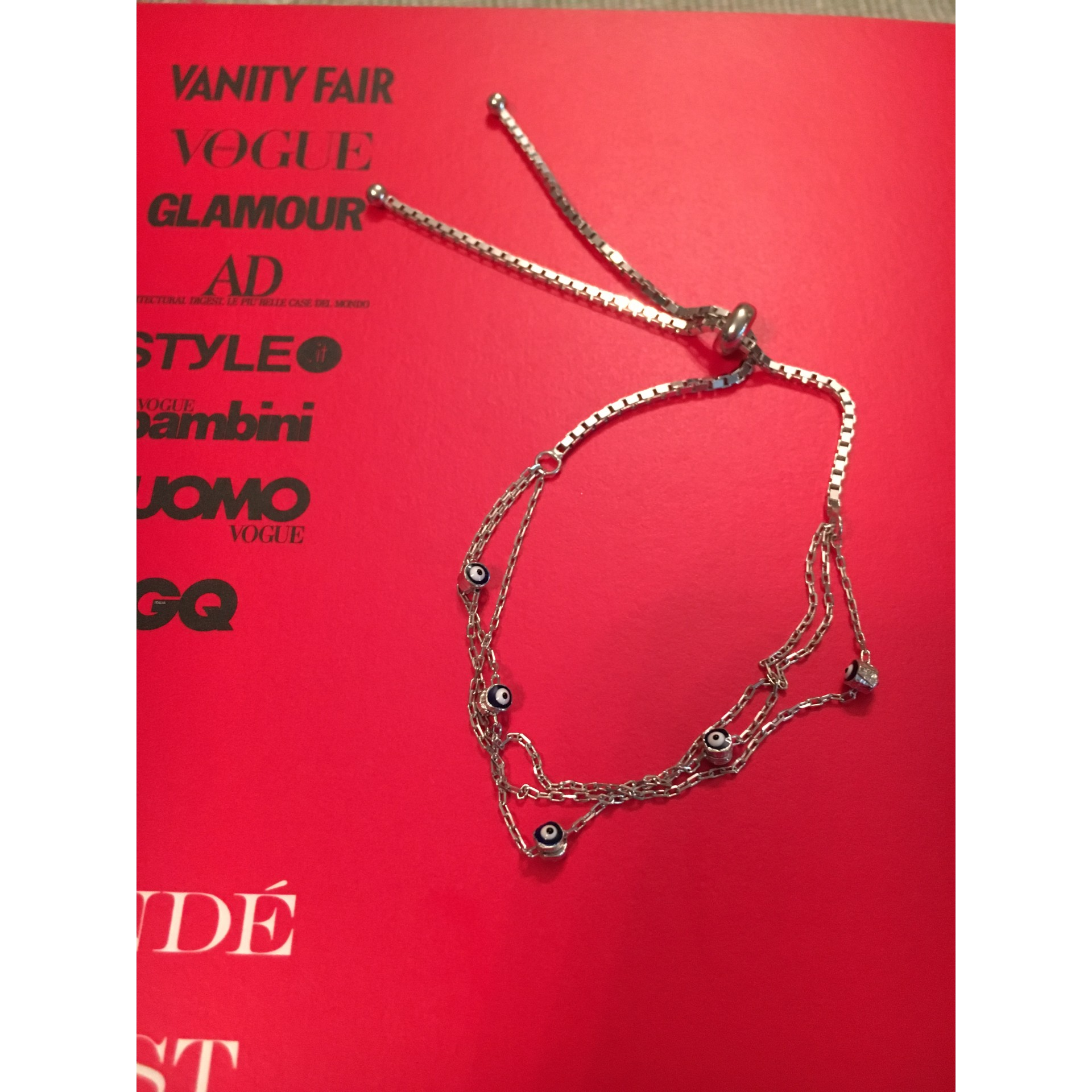 Silver Three Chains Evil Eye silver bracelet