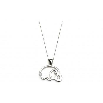 Sterling Silver & Zircon Elephant silver necklace