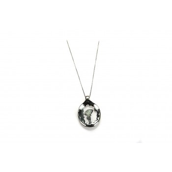 Sterling Silver Girl with umbrella silver necklace