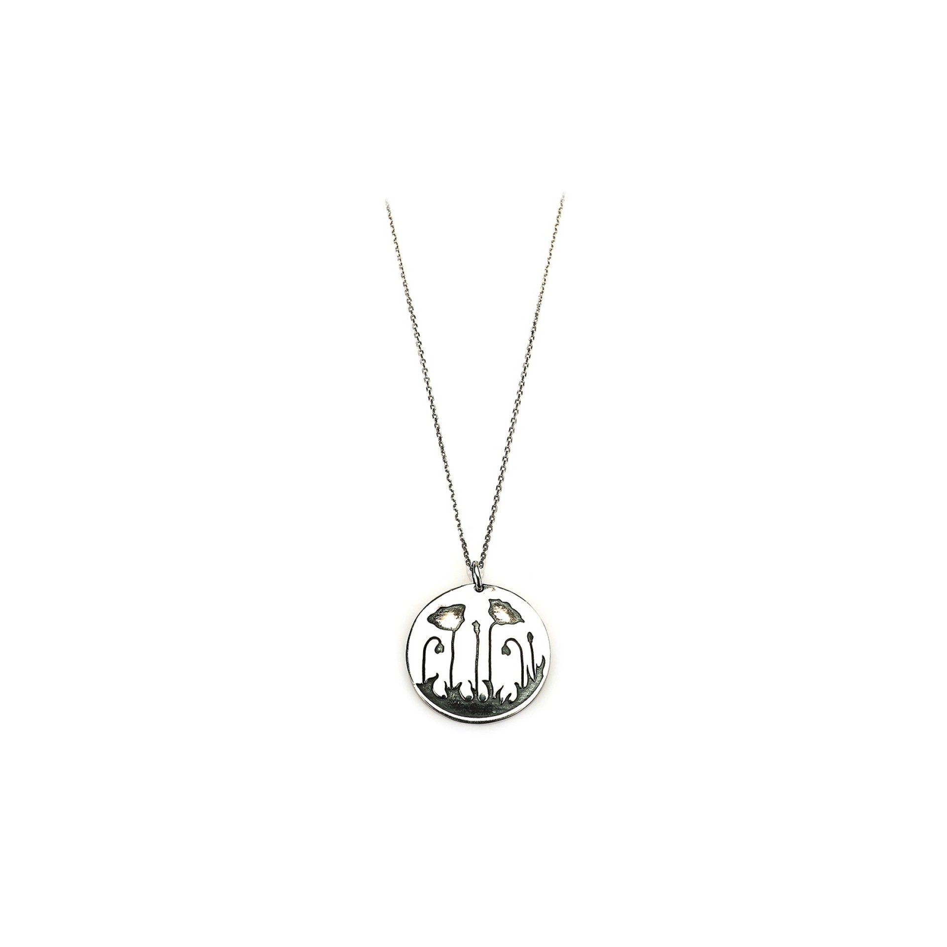 Sterling Silver Poppies silver necklace