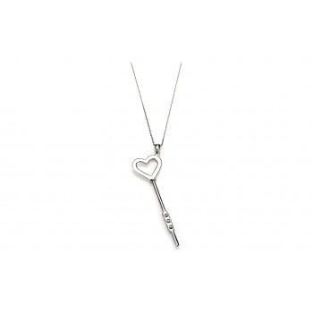 Sterling Silver & Zircon Key silver necklace