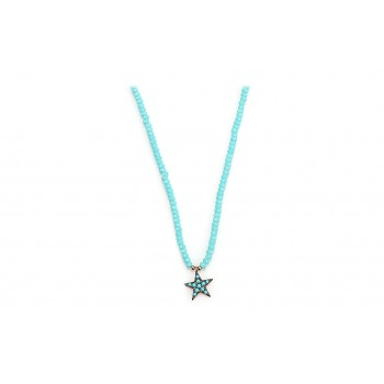 Turquoise Beads Star silver necklace
